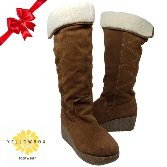 c7243ea530d YELLOW BOX Suede Shearling Knee High Wedge Boot 10